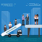 Employees onboarding concept. HR managers hiring new workers