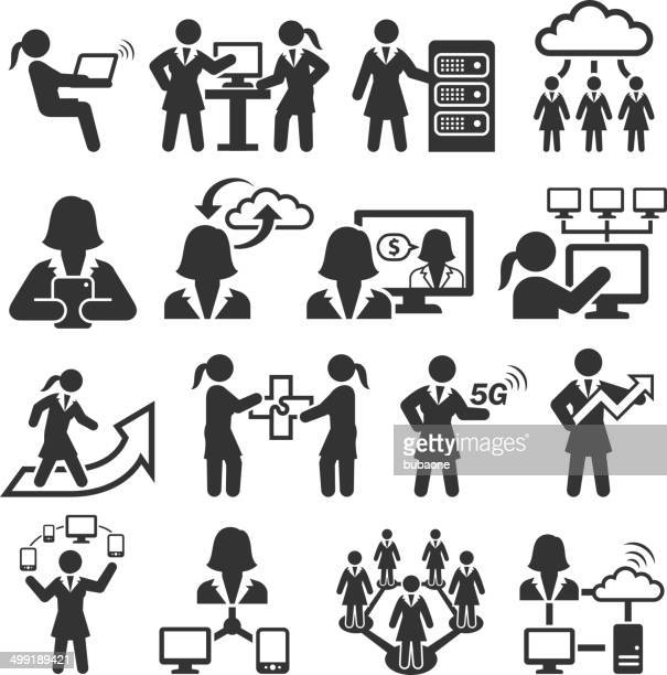 empowered businesswoman black & white royalty-free vector interface icon set - battle of the sexes concept stock illustrations