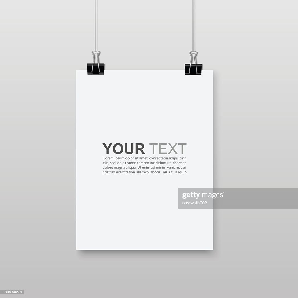 Empty A4 sized paper hanging with paper clips.vector