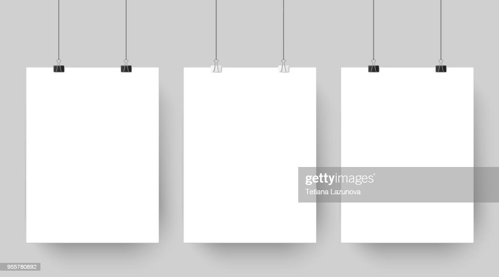 Empty affiche mockup hanging on paper clips. White blank advertising poster template casts shadow on gray background vector illustration