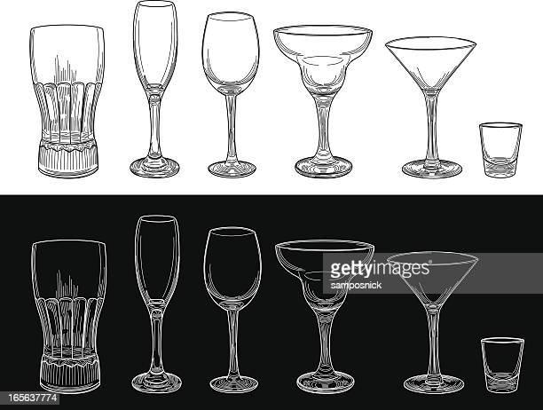 leere glas mit bar-accessoires - weinglas stock-grafiken, -clipart, -cartoons und -symbole