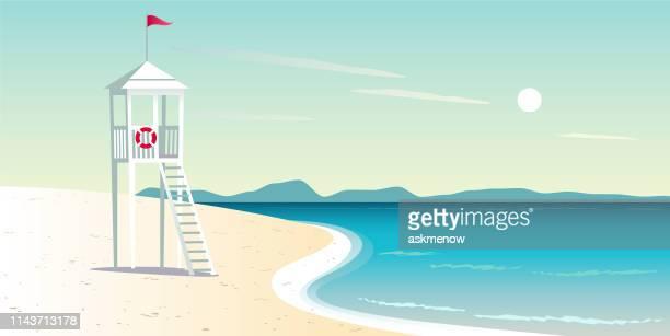 leerer strand - strandwächterhaus stock-grafiken, -clipart, -cartoons und -symbole