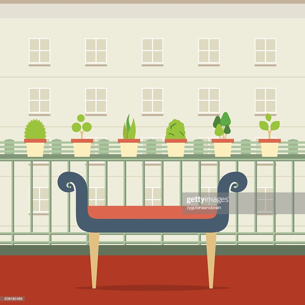 Empty Bench At Balcony With Pot Plant