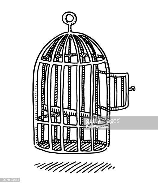 empty bird cage open door drawing - birdcage stock illustrations, clip art, cartoons, & icons