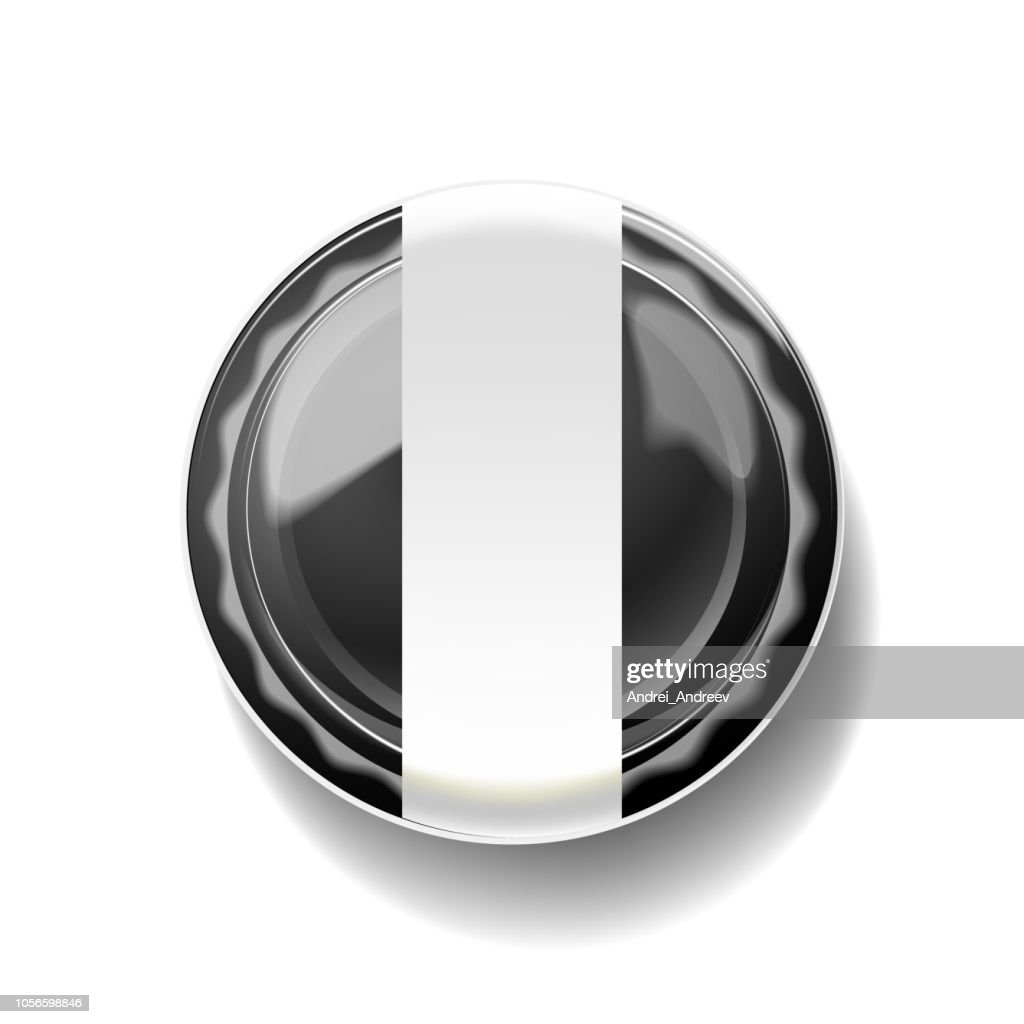 Empty black plastic container with empty label on white background.