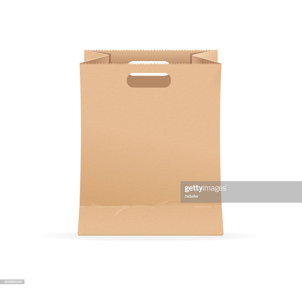 Empty Blank Template Paper Bag Sale. Vector