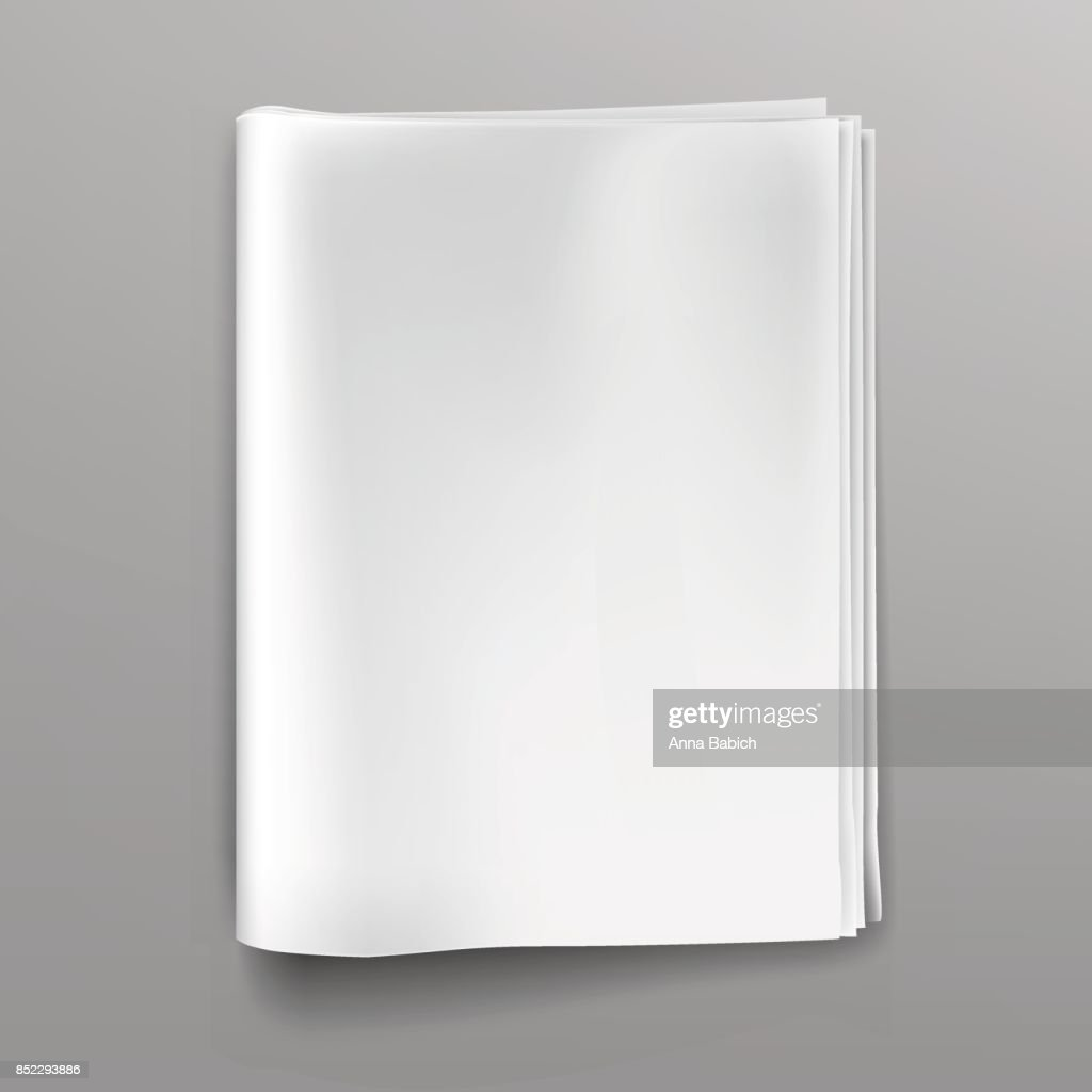 Empty, blank, white newspaper (magazine) mockup