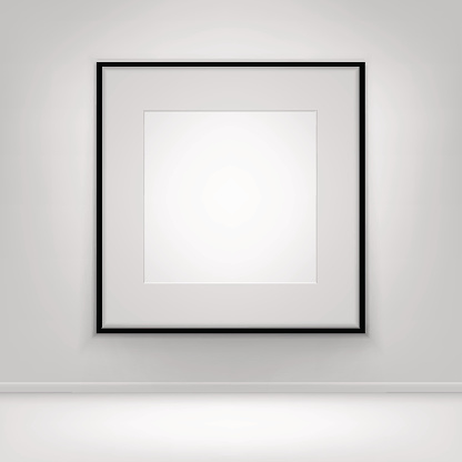 Empty Blank White Poster Black Frame on Wall with Floor 641985488