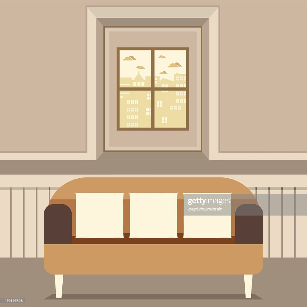 Empty Brown Couch In Front Of Window Vector Art Getty Images