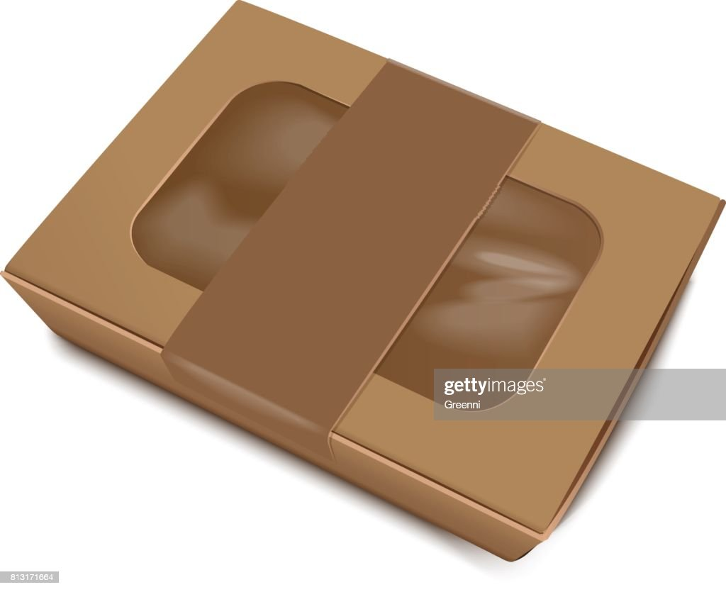 Empty Brown Paper Food Container with Label