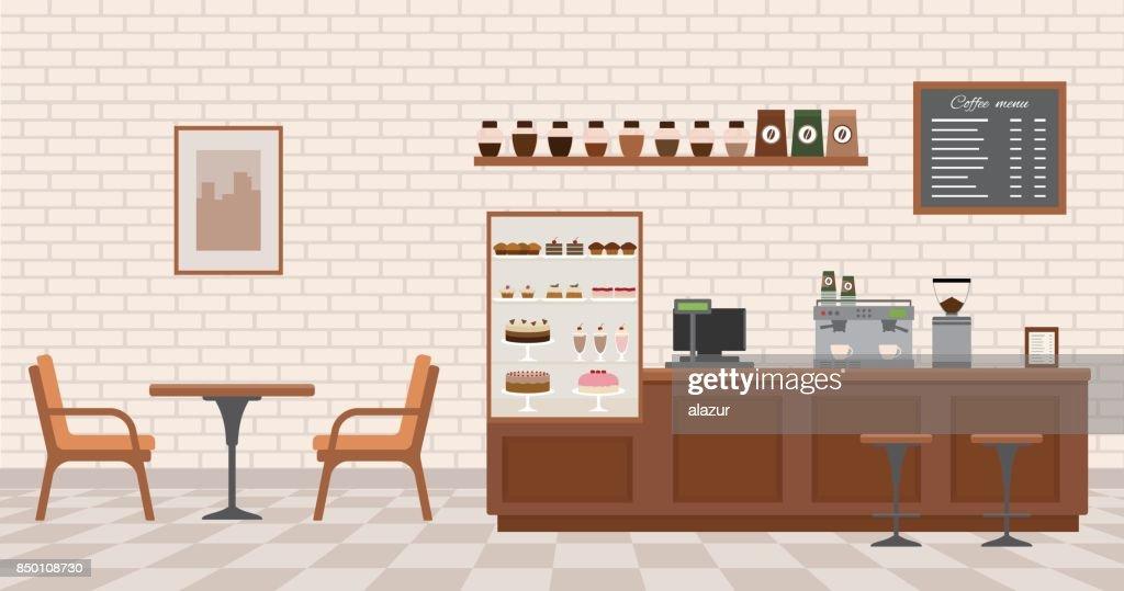 Empty cafe interior.