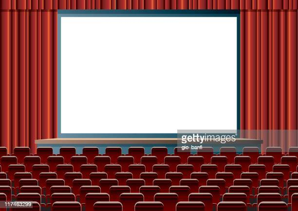 empty cinema theater with large, blank screen - blank screen stock illustrations, clip art, cartoons, & icons