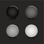 Empty circle icon glossy gray black web internet button