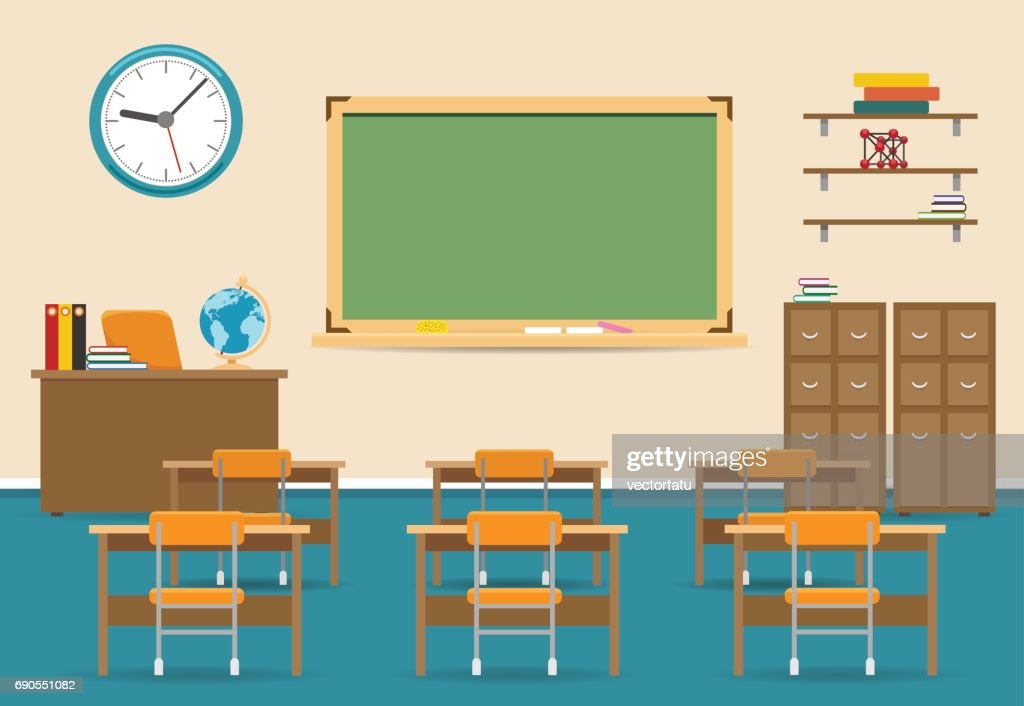 Empty classroom interior with blackboard