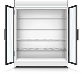Empty commercial fridge with shelves and opened doors.
