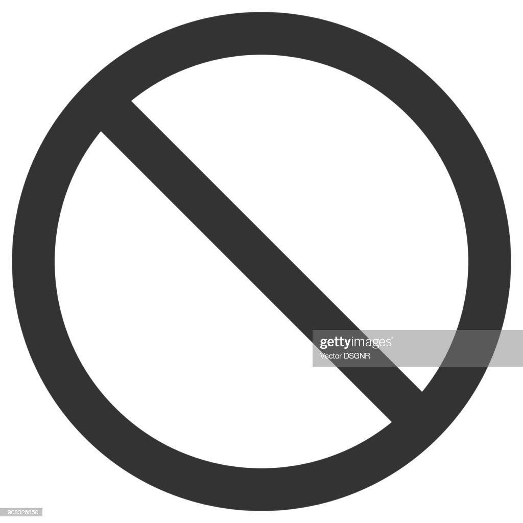 NO SIGN. Empty crossed out black circle. Vector icon