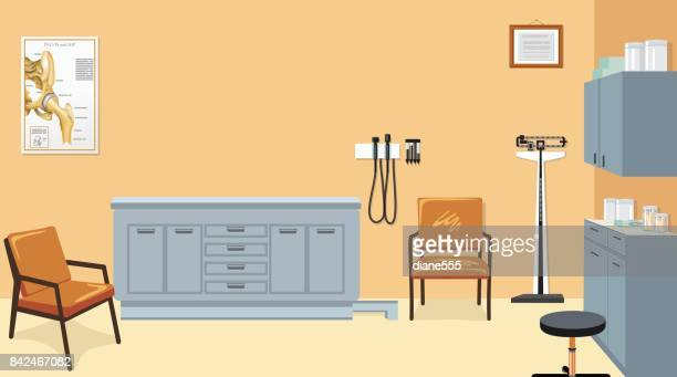 Empty Doctor's Examination Room With Furniture And Equipment