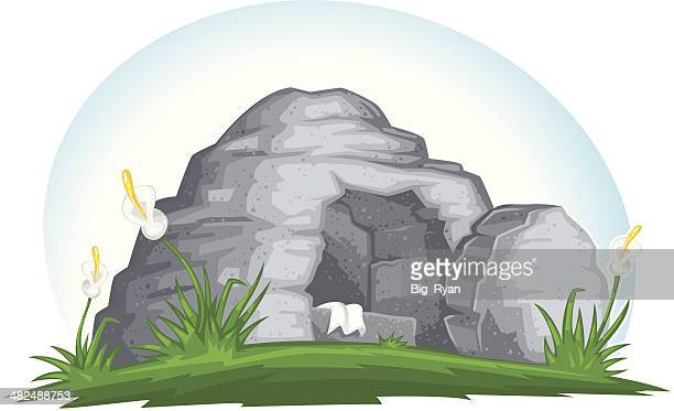 empty easter tomb - jesus stock illustrations, clip art, cartoons, & icons