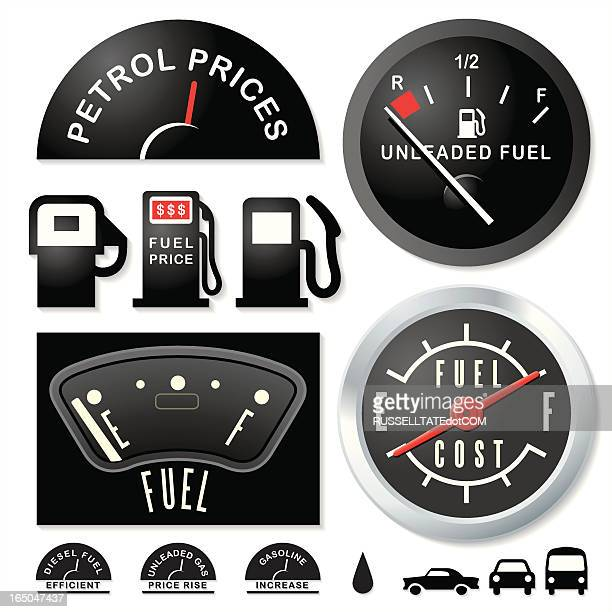 empty fuel guages - fuel pump stock illustrations, clip art, cartoons, & icons