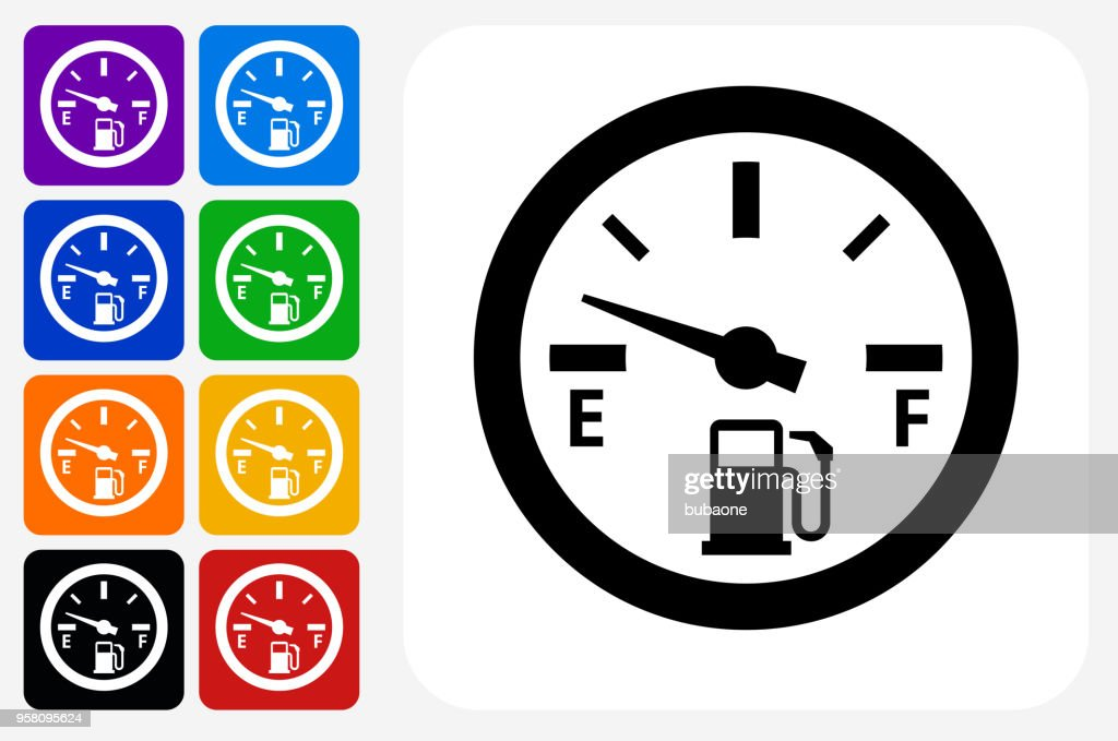 Empty Fuel Meter Icon Square Button Set Vector Art Getty Images