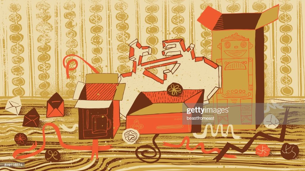Empty gift boxed and used wrapping paper : stock illustration