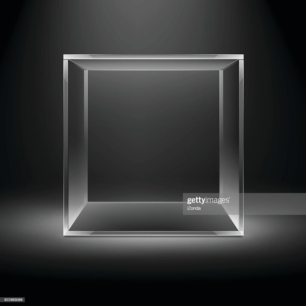 Empty Glass Box Cube on Black Background