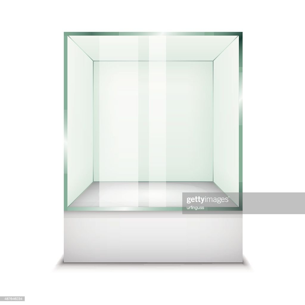Empty glass showcase. Vector Illustration