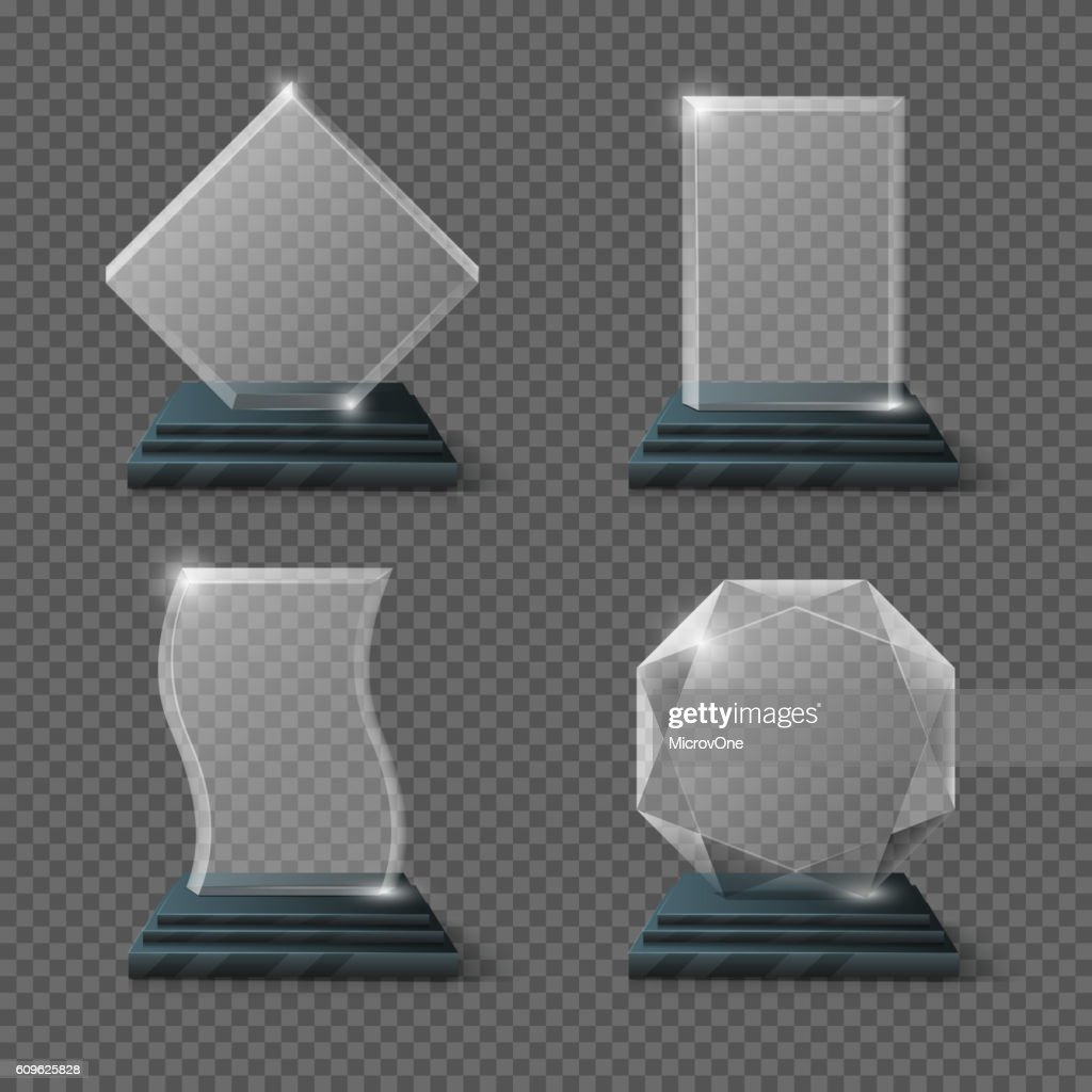 Empty glass trophy awards vector set