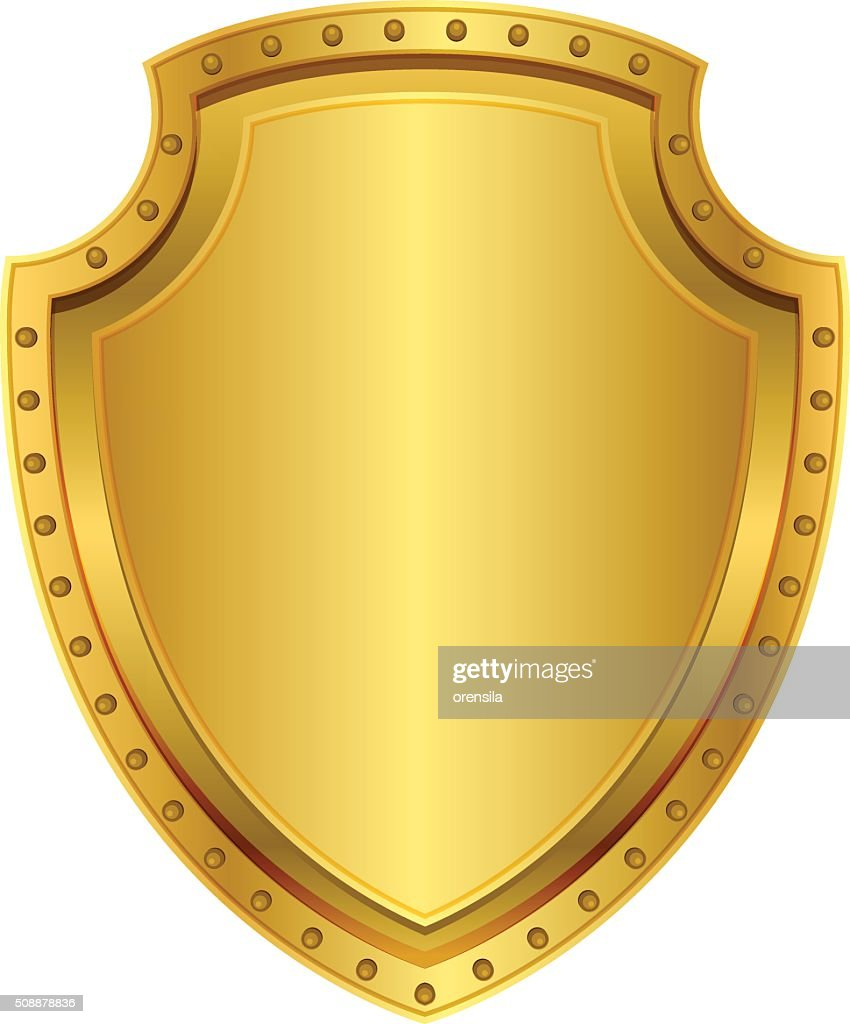 Empty gold shield. Blank metal badge with rivets