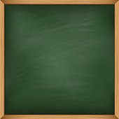 Empty green chalkboard with wooden frame. Template