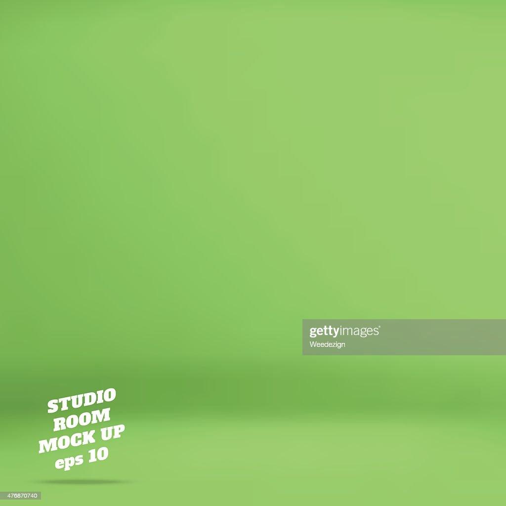 Empty green studio room background ,Template mock up