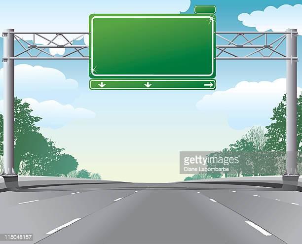 空の highway シーン、ブランクオーバヘッド方向標識 - 境界線点のイラスト素材/クリップアート素材/マンガ素材/アイコン素材
