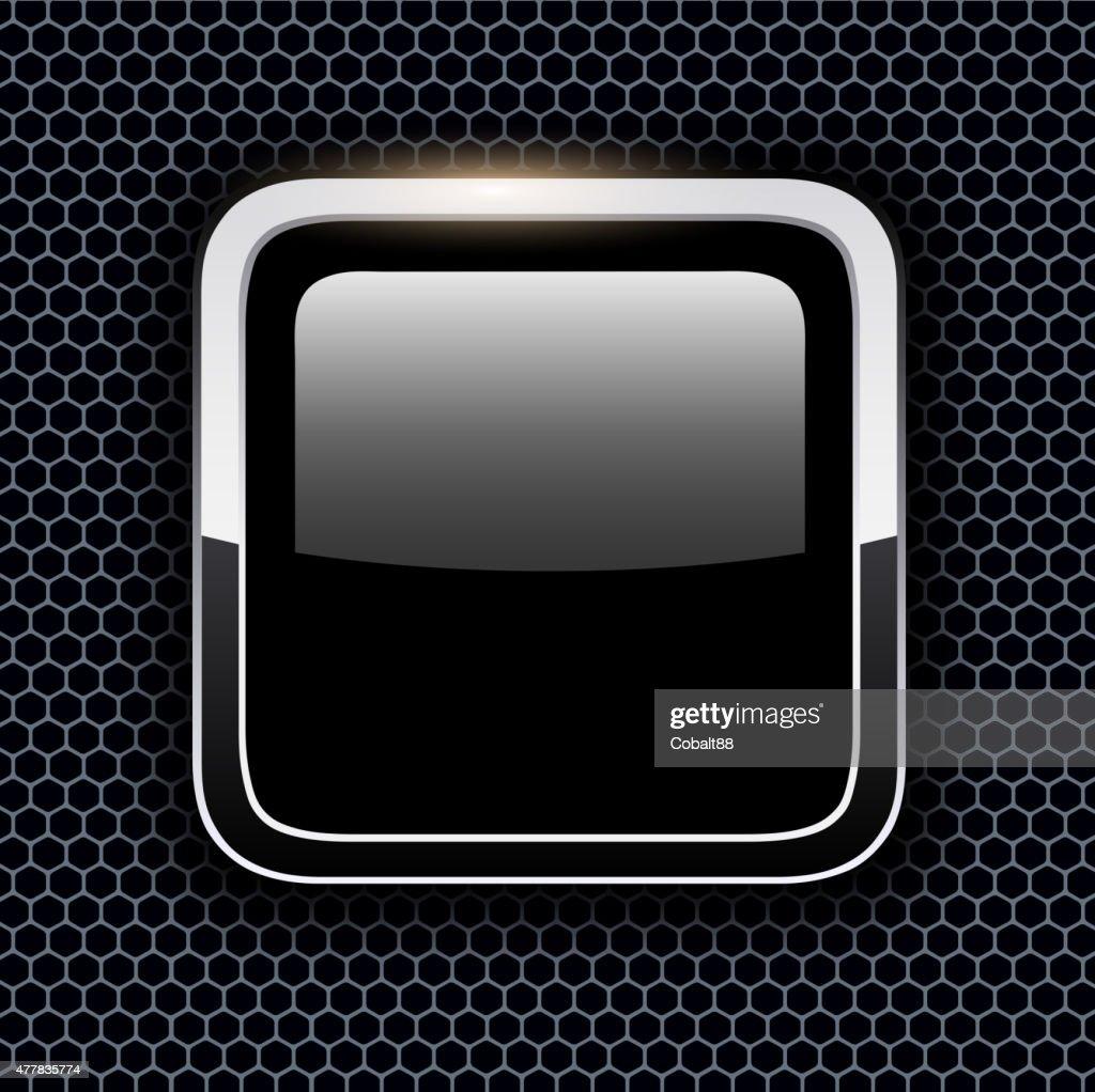Empty icon with chrome metal frame
