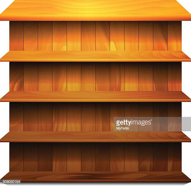 空の絶縁木製の棚 - 書店点のイラスト素材/クリップアート素材/マンガ素材/アイコン素材
