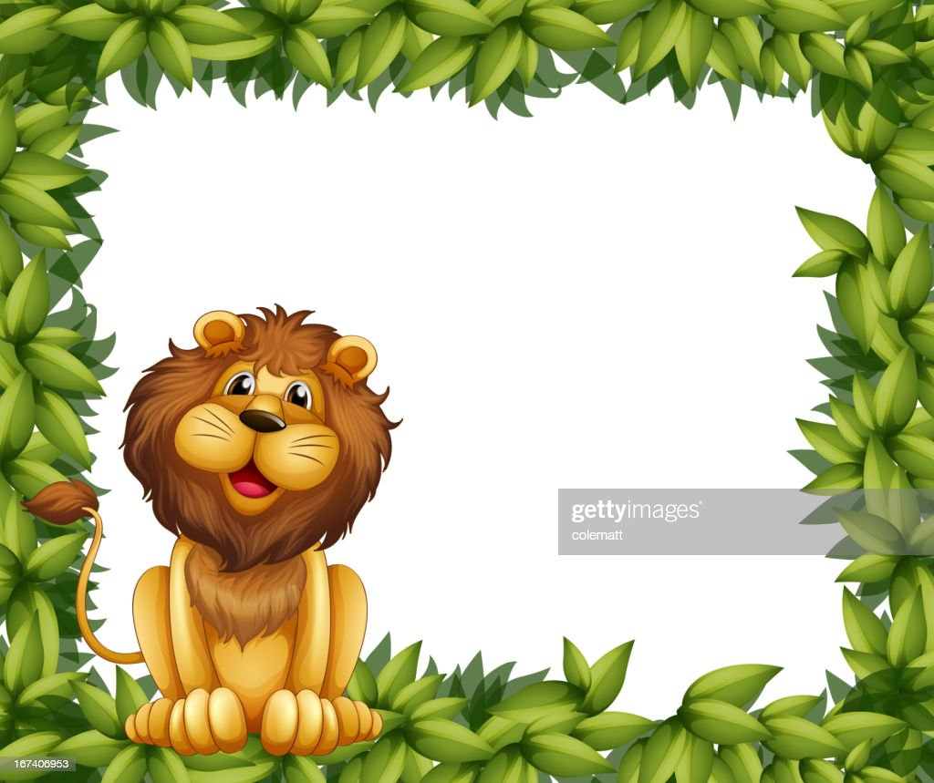 Empty leafy frame with a lion : Vector Art
