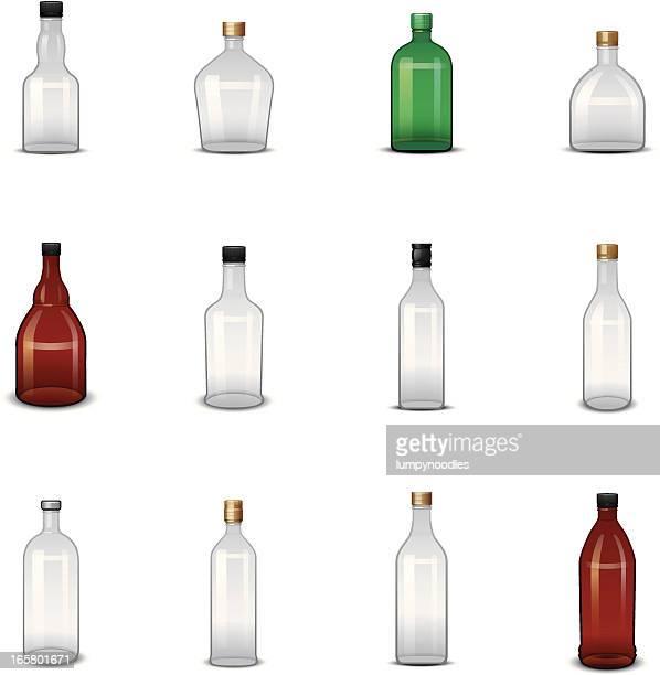 empty liquor bottle icons - scotch whiskey stock illustrations, clip art, cartoons, & icons