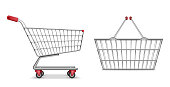 Empty metallic supermarket shopping cart side view isolated. Realistic supermarket basket, retail pushcart vector illustration