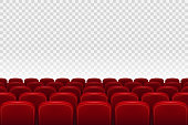 Empty movie theater auditorium with red seats. Rows of red cinema movie theater seats on transparent background, vector illustration