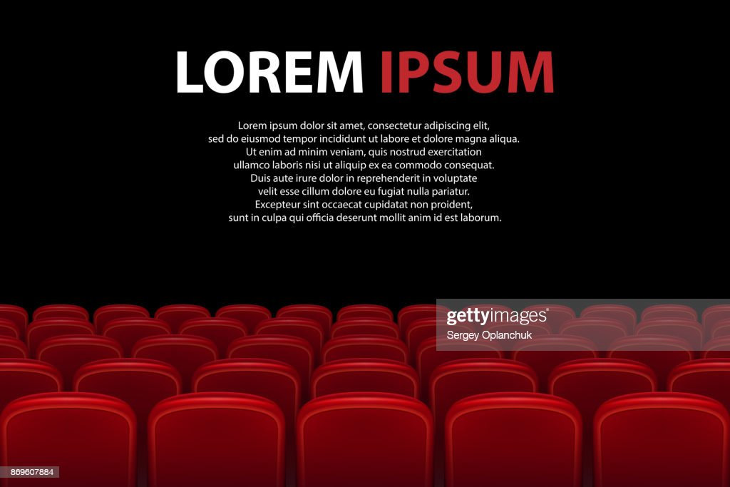 Empty movie theater auditorium with red seats. Rows of red cinema seats with black screen with sample text background. Vector illustration