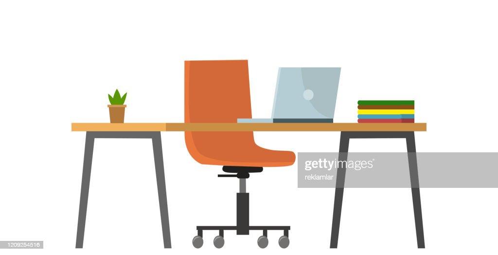 Svuotare il concetto di ufficio bancario senza persone. Illustrazione grafica di un cartone animato piatto vettoriale : Illustrazione stock