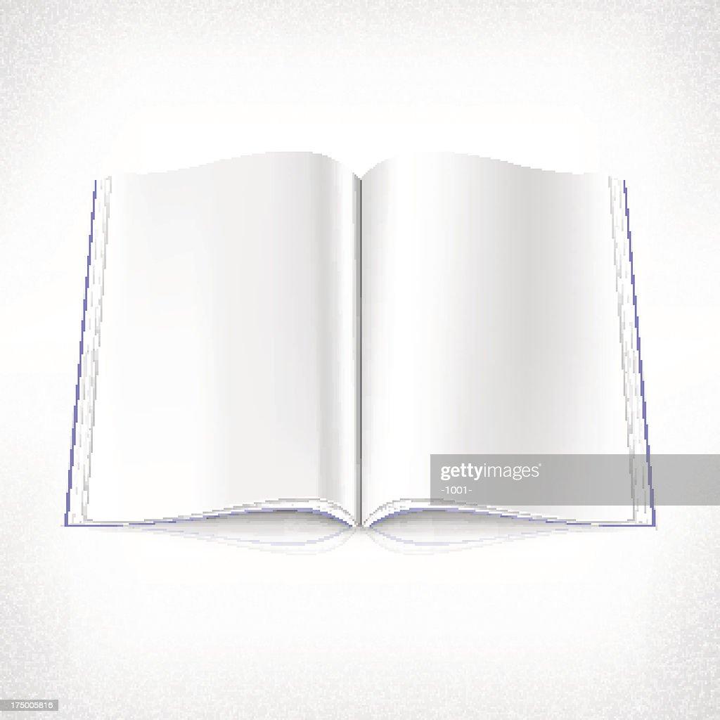 Empty open magazine spread page white background
