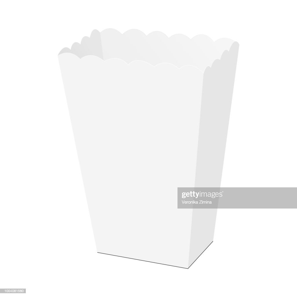 Empty paper popcorn box mockup - half side view