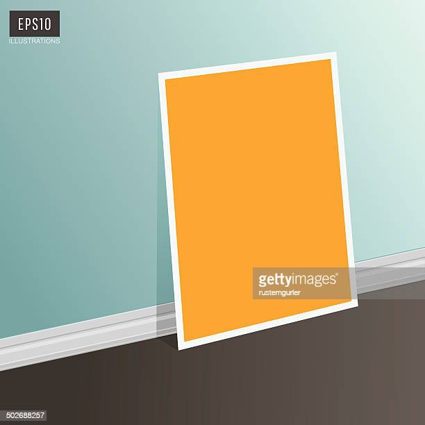 Empty paper poster in the room