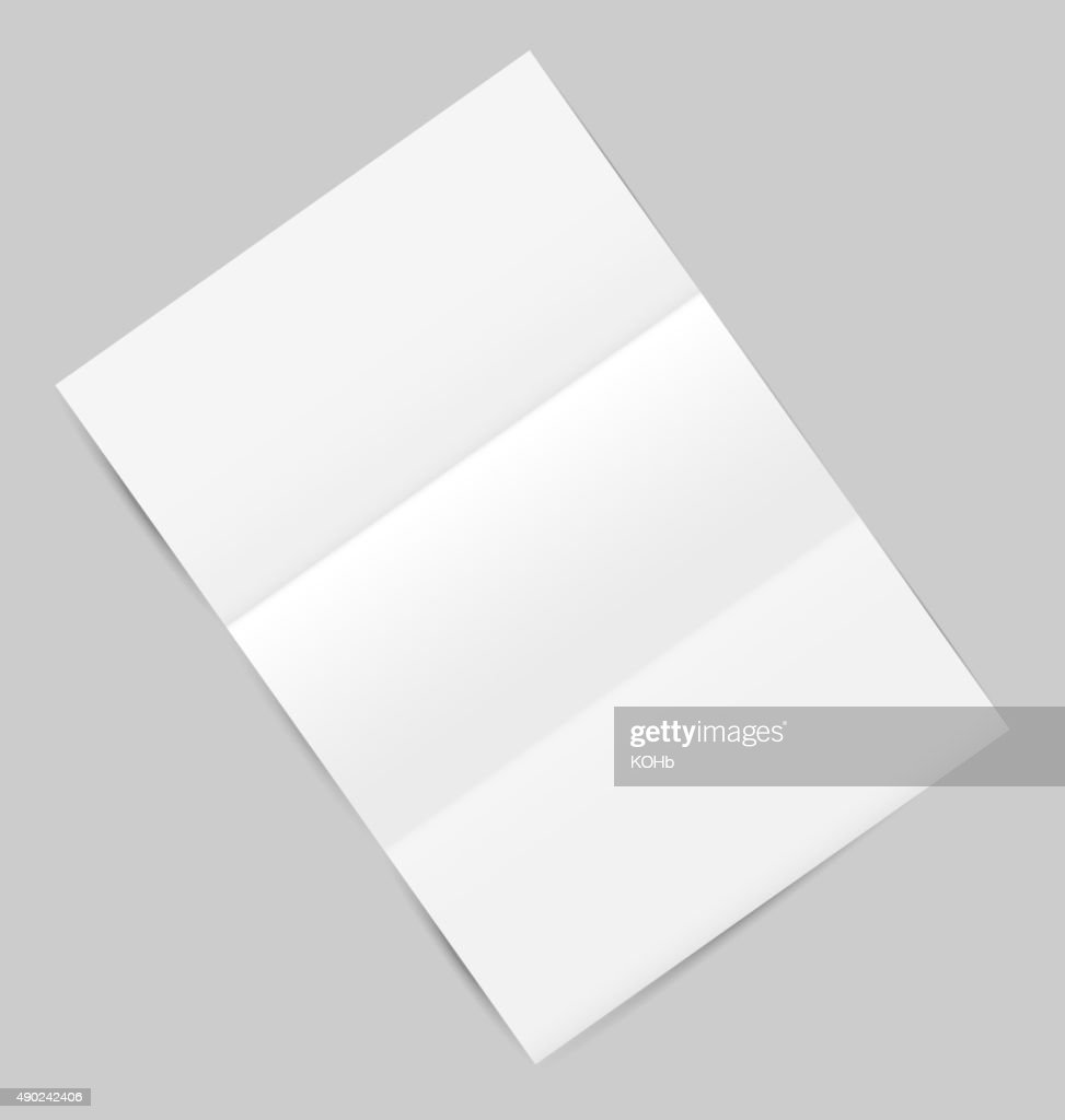 Empty paper sheet with shadows, isolated on gray background