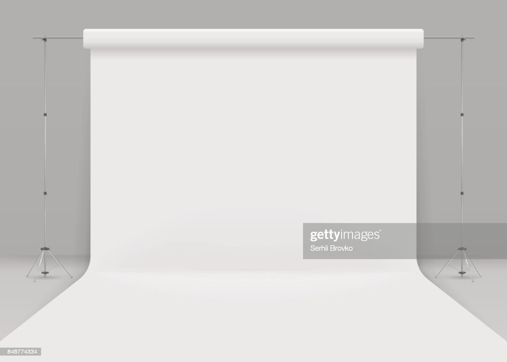 Empty photo studio. Realistic 3D template mock up. isolated on grey background. 3d studio setup with white background