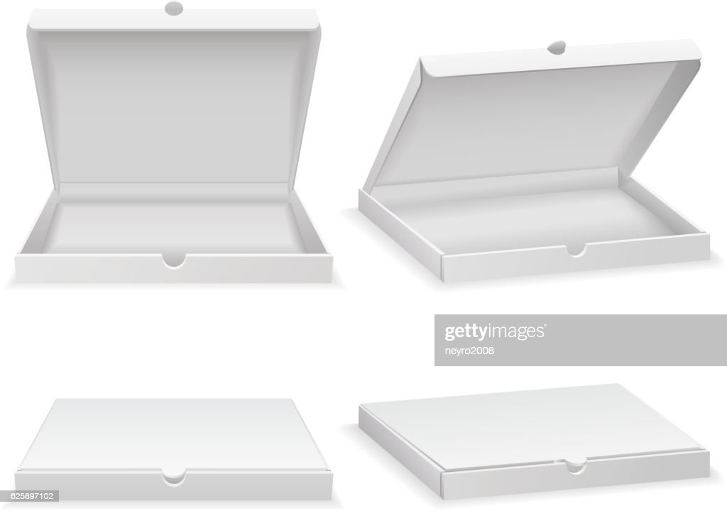 Empty pizza box isolated on white vector