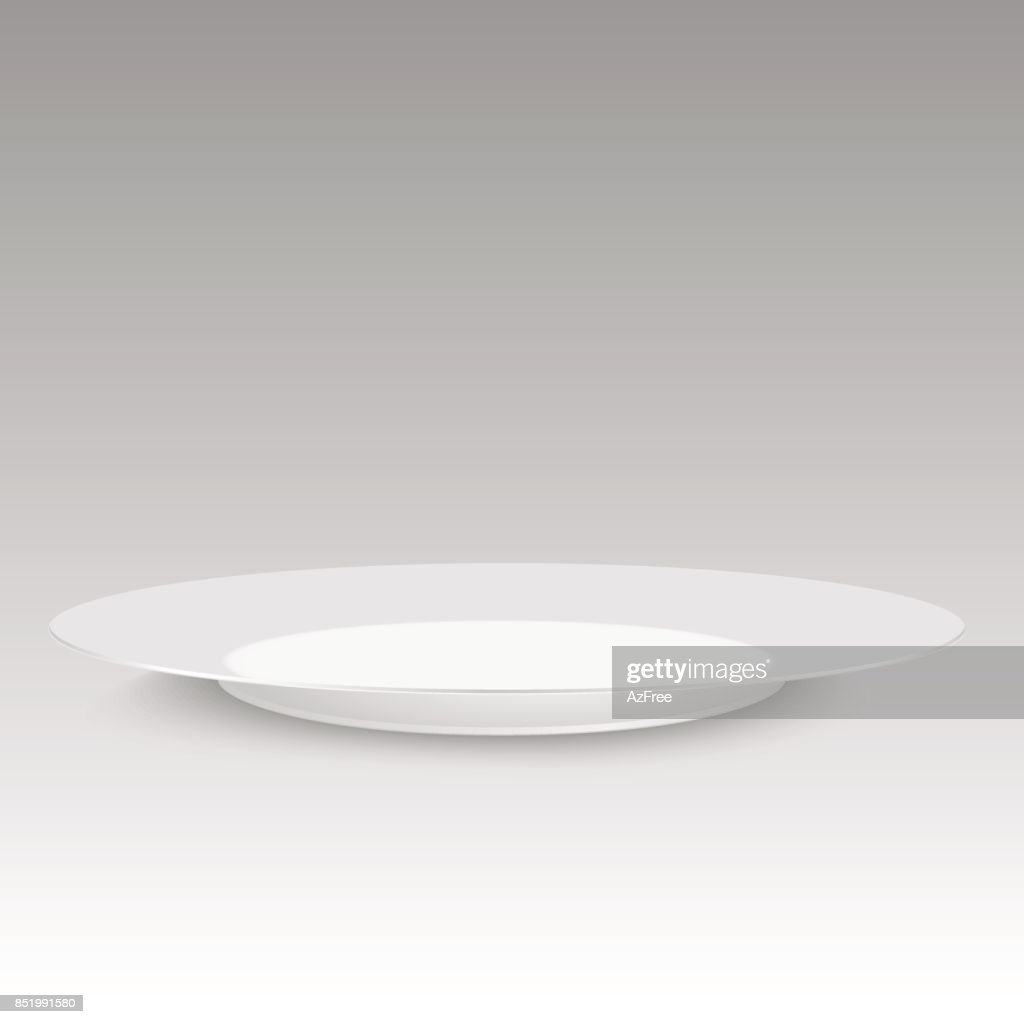 Empty plate with soft shadow on white background. Vector illustration.