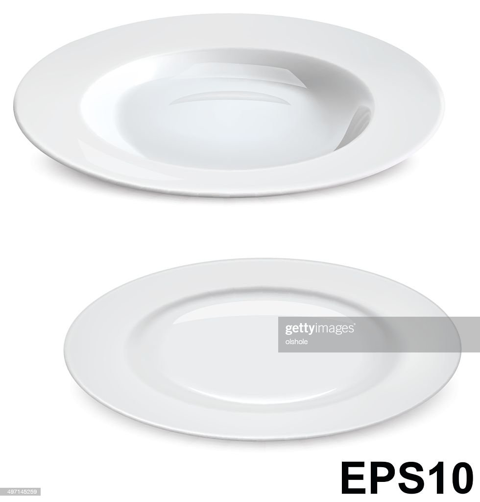 Empty plates isolated on white. Vector illustration