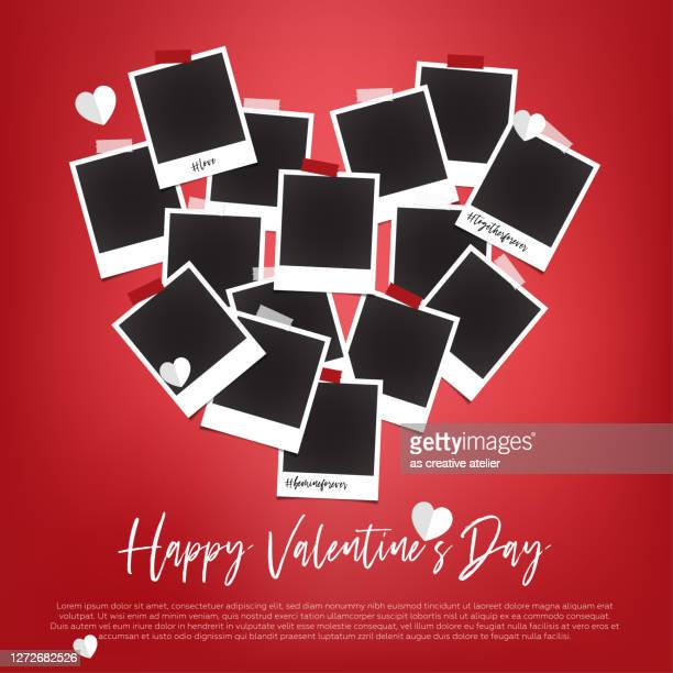 empty polaroids are on white background with valentines day concept - valentine card stock illustrations