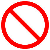 NO SIGN. Empty red crossed out circle. Vector icon